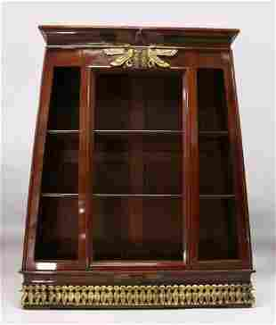 A RARE EGYPTIAN REVIVAL PAINTED OPEN FRONTED BOOKCASE