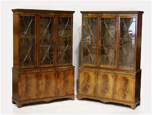 A PAIR OF GEORGIAN STYLE MAHOGANY STANDING BOOKCASES,
