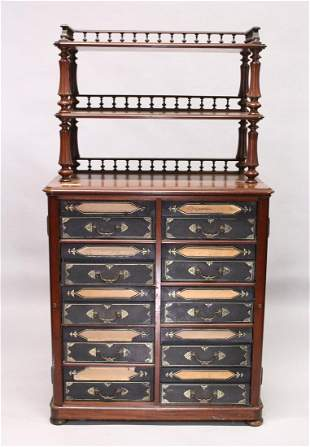A VICTORIAN MAHOGANY CABINET, the top with two shelves