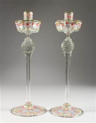 A GOOD PAIR OF VENETIAN ENAMEL DECORATED GLASS