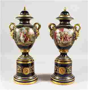A SUPERB PAIR OF VIENNA VASES, COVERS AND STANDS, the