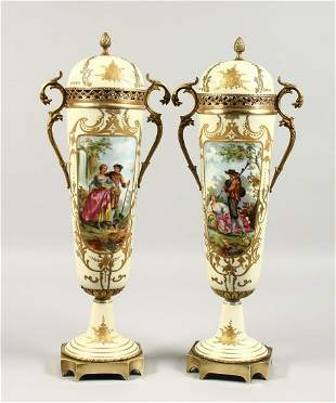A VERY GOOD PAIR OF FRENCH PORCELAIN TWO-HANDLED VASES