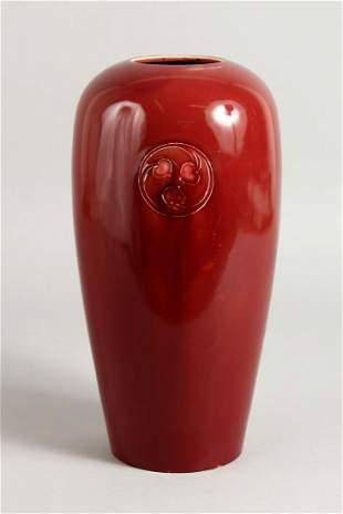 A WILLIAM MOORCROFT RED VASE OF CHRISTOPHER DRESSER