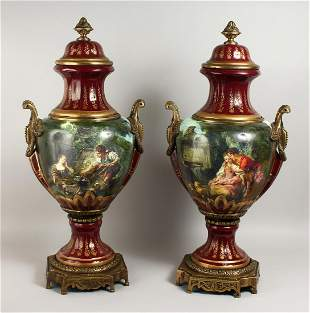 A LARGE PAIR OF PORCELAIN VASES AND COVERS, with