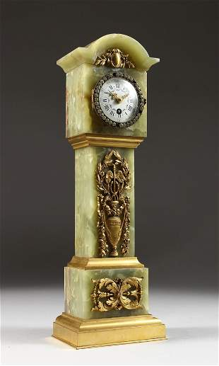 A SUPERB LOUIS XVI ONYX CASED MINIATURE LONGCASE CLOCK,