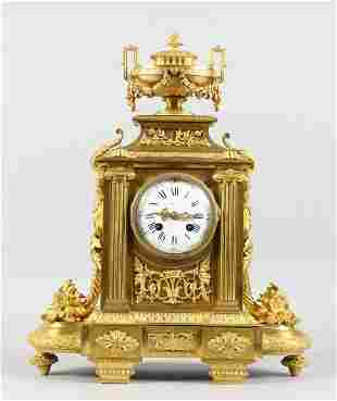 A VERY GOOD LOUIS XVI GILT ORMOLU MANTLE CLOCK, with