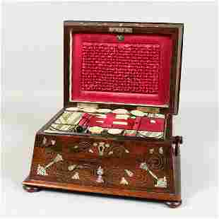 A GOOD VICTORIAN ROSEWOOD MOTHER-OF-PEARL INLAID SEWING