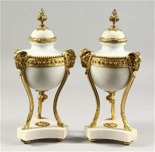 A VERY GOOD PAIR OF LOUIS XVI STYLE WHITE MARBLE AND