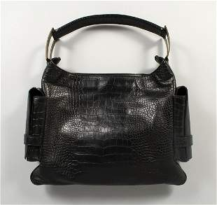 A VERSACE BLACK SIMULATED CROCODILE SKIN TOTE BAG with