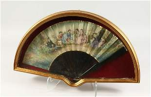 A GOOD 18TH CENTURY FRENCH TORTOISESHELL AND PAPER FAN