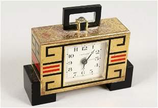 A GOOD CARTIER ART DECO CLOCK, No. 01328, black marble