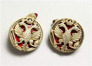 A PAIR OF RUSSIAN SILVER GILT IMPERIAL EAGLE CUFFLINKS