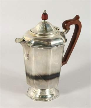 AN OCTAGONAL COFFEE POT with wooden handle.  Birmingham