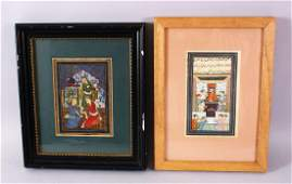 TWO PERSIAN / INDIAN MINIATURE PAINTINGS, one depicting