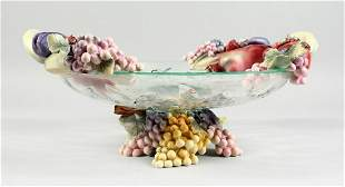 AN ITALIAN  AND EVIK GLASS AND POTTERY FRUIT AND VINE