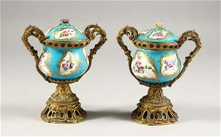 A GOOD PAIR OF 19TH CENTURY SEVRES PORCELAIN AND ORMOLU
