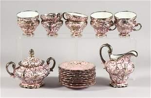 A ROSENTHAL SILVER OVERLAID PINK PORCELAIN TEA SET