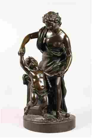 A VERY GOOD LARGE 19TH CENTURY BRONZE GROUP, a