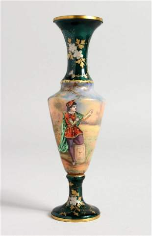 A GOOD ENAMEL MINIATURE VASE,  a figure in a garden,