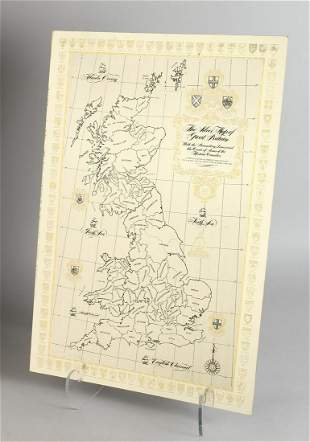 A SILVER MAP OF GREAT BRITAIN  22 ins. x 15 ins