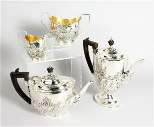 A GOOD VICTORIAN FOUR PIECE SILVER TEA SET, teapot, hot