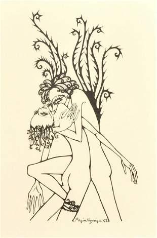 A set of three Greek erotic prints, 20th century, each
