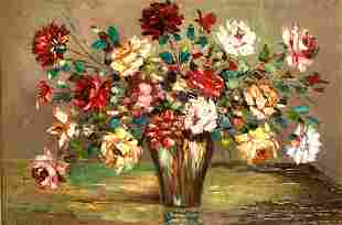 C. Alonso (20th century) A still life of mixed flowers