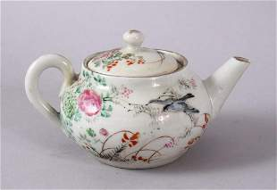 A SMALL CHINESE FAMILLE ROSE TEAPOR & COVER, decorated