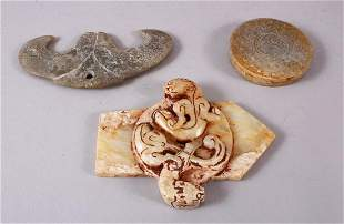THREE CHINESE CARVED SOAPSTONE / JADE PENDANTS, 10.5CM,