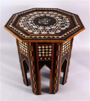 A 19TH CENTURY TURKISH OTTOMAN INLAID MOTHER OF PEARL &