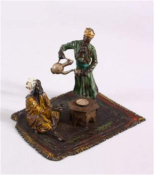 A TURKISH THEME BERGMAN STYLE COLD PAINTED BRONZE