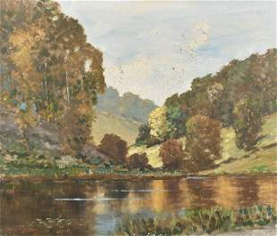 Will Longstaff (1879-1953) Australian, A pond in a