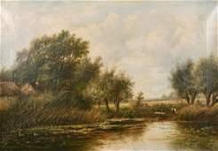 Joseph Thors (1835-1884) Dutch, figures by a riverbank