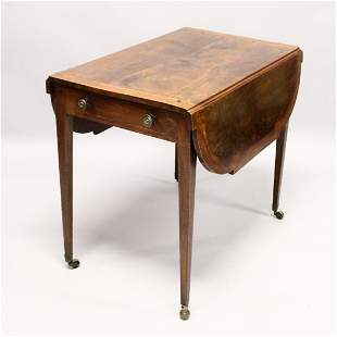 A GEORGE III MAHOGANY BUTTERFLY PEMBROKE TABLE with