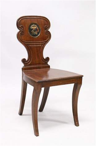 A GEORGE III MAHOGANY HALL CHAIR with solid seat, the
