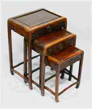 A GOOD NEST OF THREE CHINESE HARDWOOD TABLES, each with
