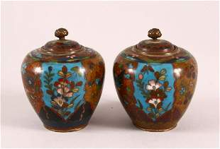 A SMALL PAIR OF CLOISONNE KORO AND COVERS, the bodies