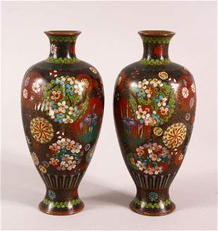 A PAIR OF SMALL CLOISONNE VASES OF RIBBED BALUSTER