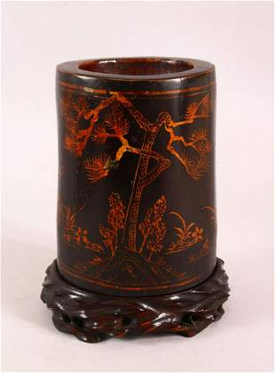 A CHINESE LACQUERED BAMBOO BRUSH WASH AND STAND, the