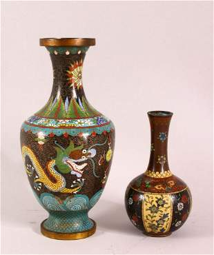 TWO CHINESE CLOISONNE VASES, one with dragons chasing
