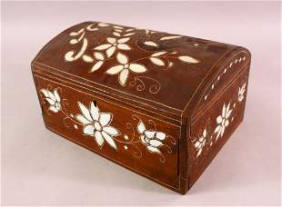 AN INLAID MOTHER OF PEARL WOODEN JEWELLERY BOX, inlaid