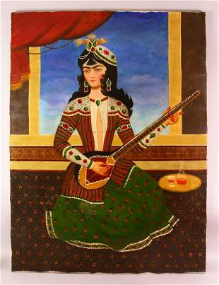 A LARGE PERSIAN OIL ON CANVAS - depicting a female with