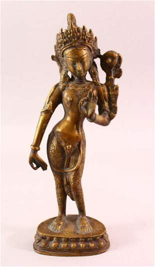 A 19TH / 20TH CENTURY NEPALESE BRONZE FIGURE OF