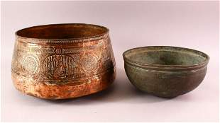 TWO EARLY MAMLUK COPPER BOWLS, each with engraved
