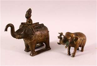 AN 18TH/19TH CENTURY INDIAN BRONZE ELEPHANT AND MAHOUT,