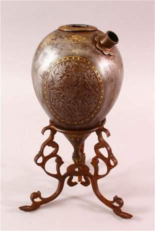 A GOOD 19TH CENTURY PERSIAN QAJAR INLAID STEEL HUQQA