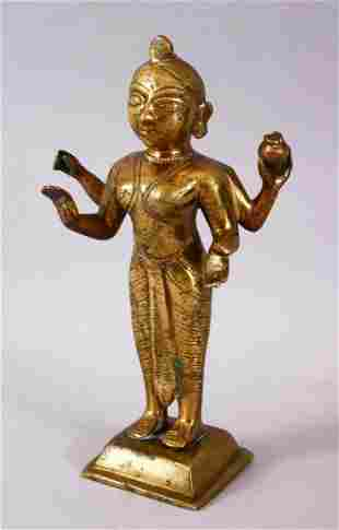 A 19TH / 20TH CENTURY INDIAN BRONZE FIGURE OF A DEITY,