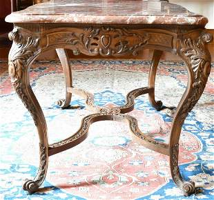 A GOOD FRENCH VEINED MARBLE TOP CENTRE TABLE with
