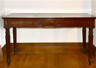 A REGENCY MAHOGANY LONG SIDE TABLE with plain top, two