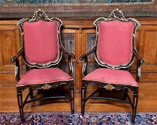 A GOOD PAIR OF ITALIAN GILDED ARMCHAIRS with padded